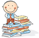 Cartoon clerk. On a pile of books Royalty Free Stock Photo