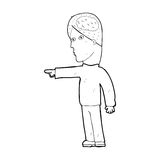 Cartoon clever man pointing Stock Images