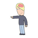 Cartoon clever man pointing Royalty Free Stock Image