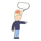 cartoon clever man pointing with speech bubble Royalty Free Stock Image