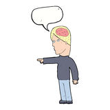 cartoon clever man pointing with speech bubble Royalty Free Stock Images