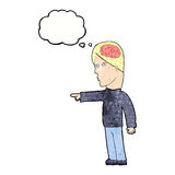 cartoon clever man pointing with thought bubble Stock Images