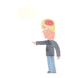 cartoon clever man pointing with thought bubble Royalty Free Stock Photo