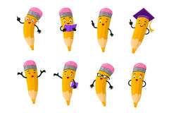Free Cartoon Clever Pencil Character Vector Set Stock Images - 97070414
