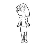 Cartoon clever woman shrugging shoulders. Black and White Line cartoon in retro style.  Vector available Royalty Free Stock Images