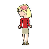 Cartoon clever woman shrugging shoulders. Hand drawn cartoon illustration in retro style.  Vector available Stock Photography