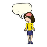 Cartoon clever woman shrugging shoulders with speech bubble Royalty Free Stock Image