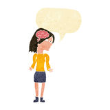 Cartoon clever woman shrugging shoulders with speech bubble Stock Images