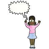 Cartoon clever woman with speech bubble Stock Photo