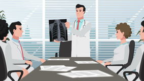 Cartoon Clinic / Doctor shows chest X-ray stock footage