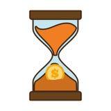 cartoon clock glass sand business clock money Royalty Free Stock Image