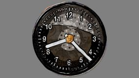 Cartoon Clock spinning 24 hours in Stop Motion Alpha Channel royalty free illustration