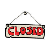 cartoon closed shop sign Royalty Free Stock Photos