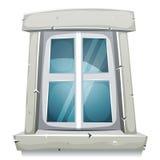 Cartoon Closed Window. Illustration of a home closed window with stone frame stock illustration