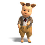 cartoon clothes cute pig Стоковое Изображение