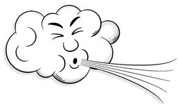 Cartoon cloud blows wind stock illustration