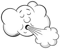 Cartoon cloud blows wind Royalty Free Stock Photography
