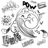 Cartoon cloud icons in comic book style. Cumulus outline clouds. Vector elements of smoke puff, steam vapor, fume clap, explosion pierce, thunderbolt burst royalty free illustration