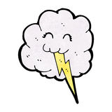 Cartoon cloud with lighting bolt Stock Photo