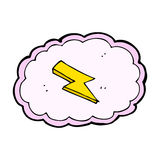 Cartoon cloud and lightning bolt symbol Royalty Free Stock Images