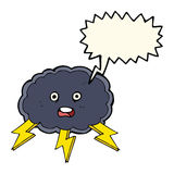 cartoon cloud and lightning bolt symbol with speech bubble Stock Photography