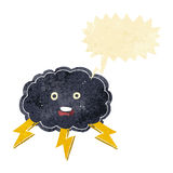 cartoon cloud and lightning bolt symbol with speech bubble Stock Photo