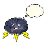 cartoon cloud and lightning bolt symbol with thought bubble Royalty Free Stock Photo