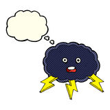 cartoon cloud and lightning bolt symbol with thought bubble Royalty Free Stock Image