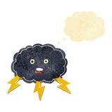cartoon cloud and lightning bolt symbol with thought bubble Royalty Free Stock Photography