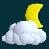 Cartoon cloud and moon from plasticine or clay Royalty Free Stock Images