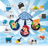 Cartoon Cloud network Stock Images