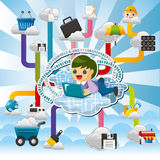 Cartoon Cloud network Royalty Free Stock Images