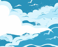 Cartoon cloud and sky background. Stock Images