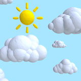 Cartoon cloud and sun from plasticine or clay. Stock Photos