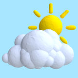 Cartoon cloud and sun from plasticine or clay. Stock Images