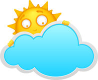Cartoon cloud and sun Stock Images
