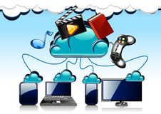 Cartoon cloud technology. Blue background cloud technology with gadgets Royalty Free Stock Image