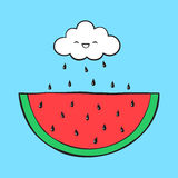 Cartoon cloud and watermelon. Vector cartoon cloud and watermelon Royalty Free Stock Images