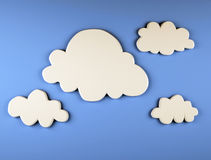 Cartoon clouds on blue background. 3d illustration vector illustration