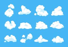 Cartoon clouds. Blue sky panorama heaven atmosphere vintage 2D fluffy white element flat cloudy shape. Vector set
