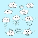 Cartoon clouds with different emotions. Emoticons in the form of clouds, happiness and love, hatred and resentment Stock Photo