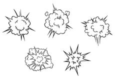 Cartoon clouds of explosion Stock Photos