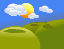 Cartoon Clouds and Hills. A sky with a sun and clouds with some rolling green hills Stock Photos