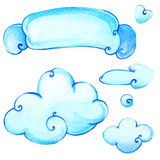 Cartoon clouds rays watercolor illustration Royalty Free Stock Photos