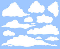 Cartoon clouds set on blue sky background. Collection of funny smoke and fog icons, for filling your sky scenes or ui Stock Image