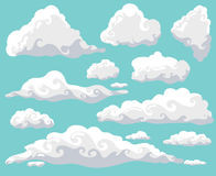 Cartoon clouds set on blue sky background. Collection of funny smoke and fog icons, for filling your sky scenes or ui Stock Photo