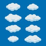 Cartoon Clouds Set on Blue Sky Background. Vector stock illustration