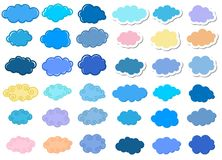 Cartoon clouds set. Isolated on white background Royalty Free Stock Photography