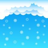 Cartoon clouds sky snowflake Stock Image
