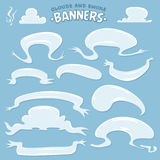 Cartoon Clouds And Smoke Banners Stock Photos